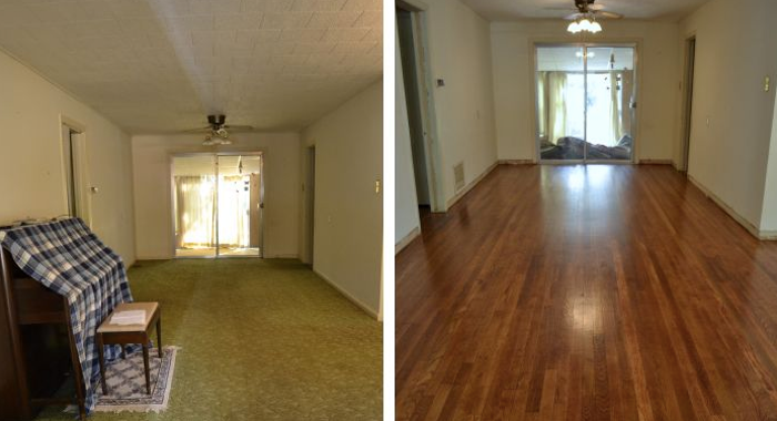 Before and after, carpet to hardwood floors